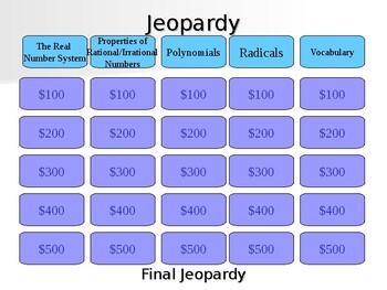 GSE Algebra 1 Unit 1 Jeopardy