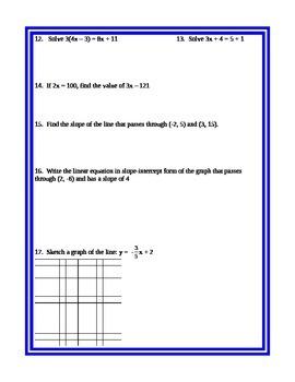 GSE Algebra I Diagnostic Test