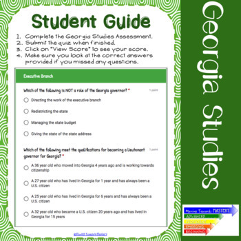 GSE SS8CG3 Executive Branch in Georgia: Assessment Using Google Forms