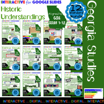 GSE SS8H1-12 Historic Understandings Interactives for Google Slides