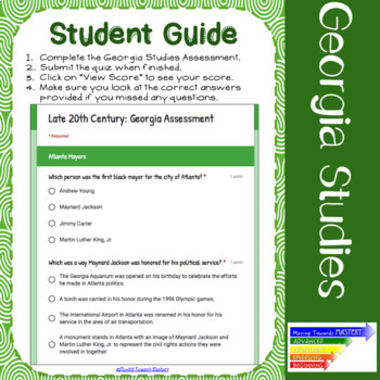 GSE SS8H12 Late 20th Century Georgia: Assessment Using Google Forms
