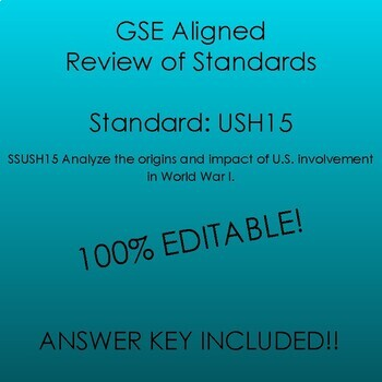 GSE SSUSH15 Study Guide Review-World War I