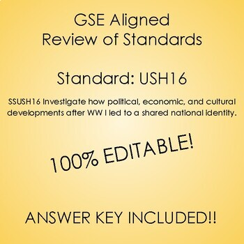 GSE SSUSH16 Study Guide Review- 1920's