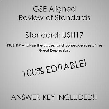 GSE SSUSH17 Study Guide Review- Great Depression