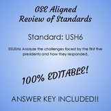 GSE SSUSH6 Study Guide Review- First Five U.S. Presidents