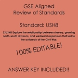 GSE SSUSH8 Standard Review Study Guide- Civil War