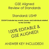 GSE SSUSH9 Editable Study Guide Review of Standard- Civil War