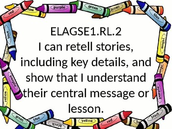 GSE posters I Can Statements 1st grade ELA with crayon border.