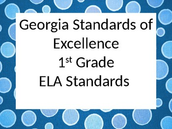 GSE standards for 1st grade ELA, Math, Sci., SS. Custom for Diana L.