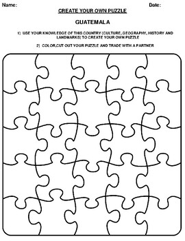 GUATEMALA Create your Own Puzzle Worksheet