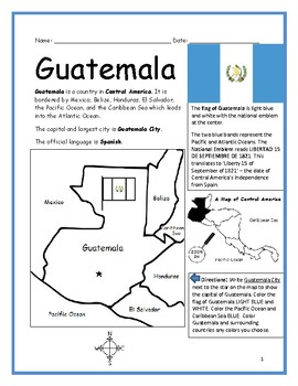 GUATEMALA - Printable handouts with map and flag to color