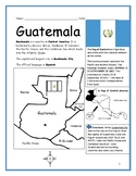 GUATEMALA - Printable handout with map and flag