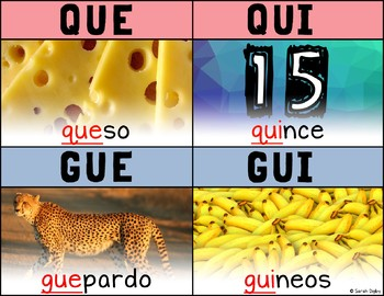 Que-Qui-Gue-Gui Spanish Phonics Poster