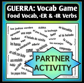 GUERRA - Vocab Word Game - Partner Activity - FOOD
