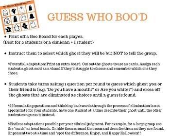 GUESS BOO! (Guess Who/ Head Bandz Open-Ended Describing Game)