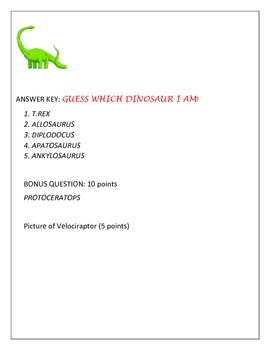 GUESS THE DINOSAUR, A CHALLENGE