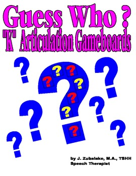 GUESS WHO? /K/ PICTURE ARTICULATION GAME BOARD INSERTS-Speech Therapy
