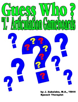 """GUESS WHO? """"L"""" PICTURE ARTICULATION GAME BOARD INSERTS-Speech Therapy"""