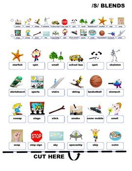 "GUESS WHO? ""S"" BLENDS PICTURE ARTICULATION GAME BOARD INSERTS- Speech Therapy"