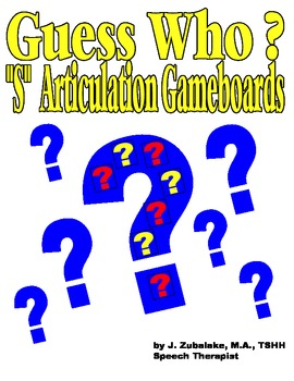 """GUESS WHO? """"S""""  PICTURE ARTICULATION GAME BOARD INSERTS- Speech Therapy"""