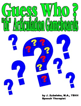 GUESS WHO? /TH/ PICTURE ARTICULATION GAME BOARD INSERTS- Speech Therapy