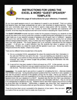 "GUEST SPEAKER FORM TEMPLATE (Excel & Word) ""Forms for Evaluating Guest Speakers"""
