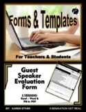 "GUEST SPEAKER FORM TEMPLATE (Excel & Word) ""Forms for Eval"