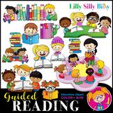 GUIDED READING Clipart set. BLACK AND WHITE & Color Bundle. {Lilly Silly Billy}
