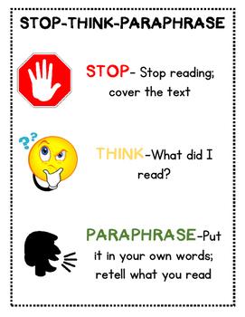 Paraphrasing activities for 1st grade