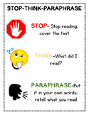 GUIDED READING-Stop, Think, Paraphrase Poster and Bookmarks
