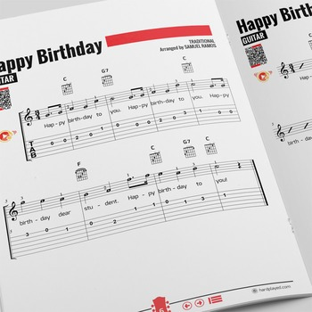 GUITAR SHEET MUSIC: Happy Birthday! [Easy] w/ PERFORMANCE TRACK