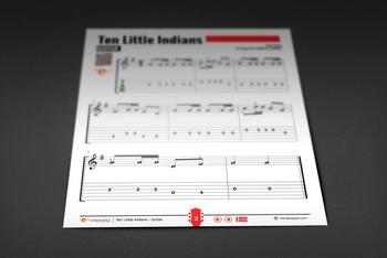 GUITAR SHEET MUSIC: Ten Little Indians (Children's Rhyme)