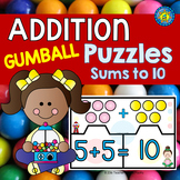 GUMBALL MATH ADDITION Puzzles  ~ Sums to 10
