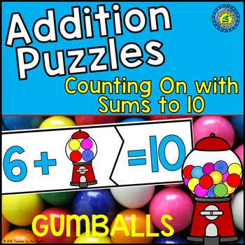 GUMBALL MATH ADDITION Puzzles  ~ Counting On with Sums to 10