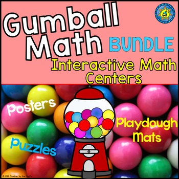 GUMBALL Math BUNDLE - Number Play Dough Mats, Anchor Charts, Puzzles