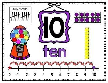 GUMBALL Math - Number Playdough Mats and Anchor Charts 1-10