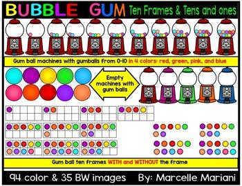 Place value clipart & ten frames-Gum balls and gum ball machines clipart