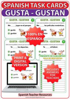 GUSTA vs. GUSTAN - Spanish Task Cards