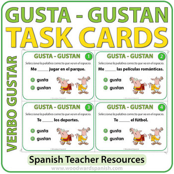 Gusta Vs Gustan Spanish Task Cards By Woodward Education Tpt