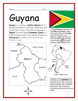 GUYANA - Printable handouts with map and flag to color