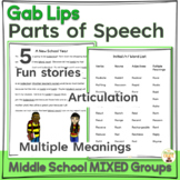 Parts of Speech Activity for Middle School Mixed Groups