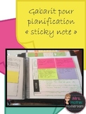 "Gabarits planification ""sticky notes"" (Sticky Note Planning Templates in French)"