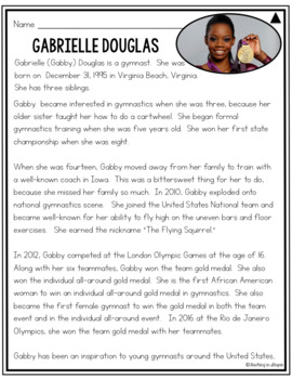 Gabby Douglas: Free Differentiated Biography Passages and Reading Comprehension