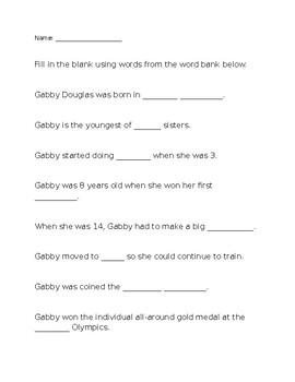 Gabby Douglas Worksheet