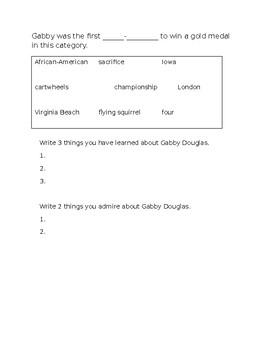 Gabby Douglas Worksheet