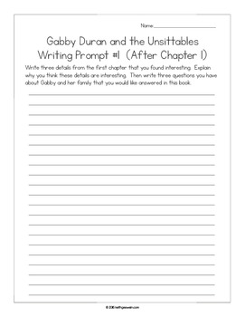 Gabby Duran and the Unsittables: 13 Writing Prompts and 13 Quizzes