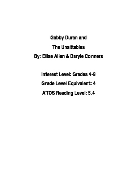 Gabby Duran and the Unsittables Novel Unit