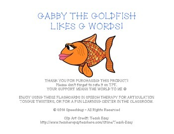 Gabby the Goldfish Likes... G Articulation Practice!
