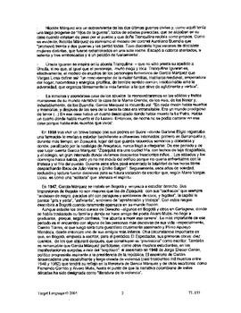 Gabriel Garcia Marquez-Study Guide