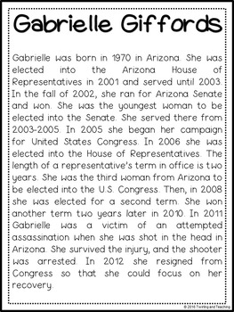 Gabrielle Giffords Biography Pack (Women's History)